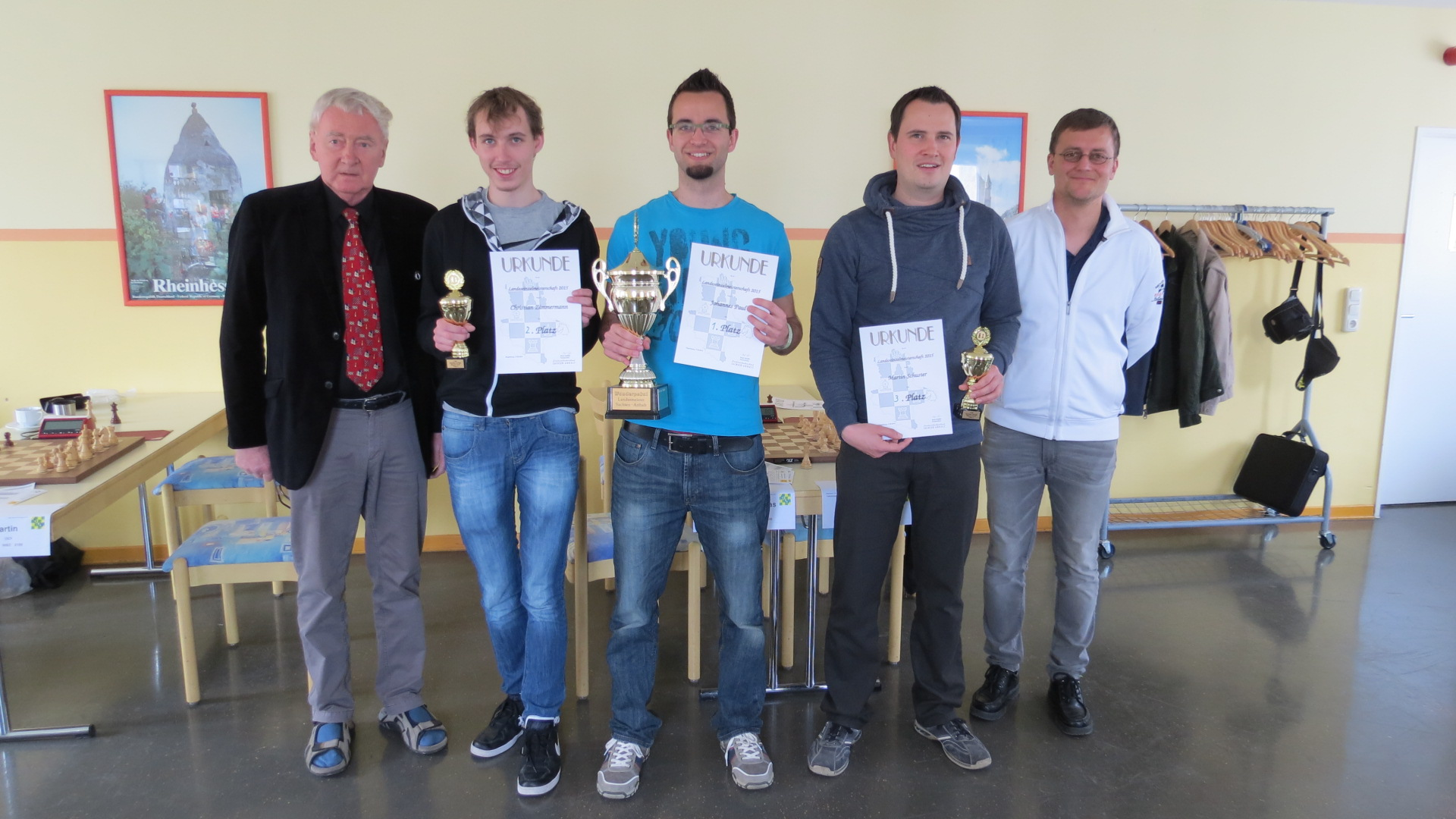 LEM 2015: Präsident Dr. Günter Reinemann, Christian Zimmermann (2.), Johannes Paul (1.), Martin Schuster (3.), Turnierleiter Reyk Schäfer